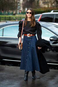 tendances mode jupe en jean longue