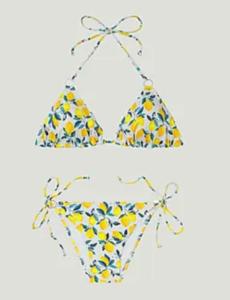 maillot bain 2 pièces motif citron